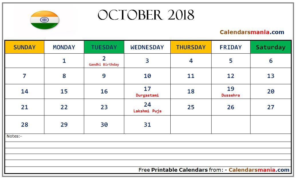 october 2018 calendar india