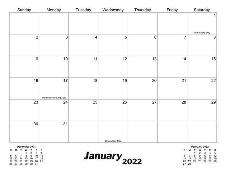 Download and print this editable template of the 2022 monthly calendar in portrait format. Classic Monthly Printable Calendar - CalendarsQuick