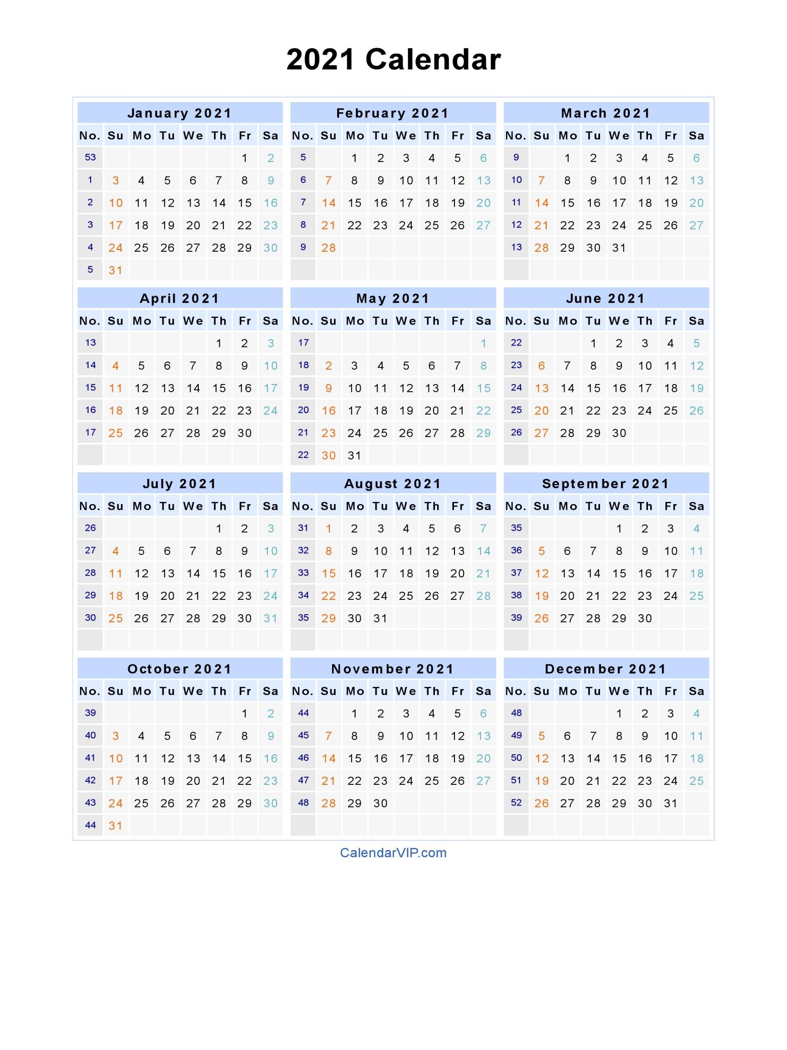 When you purchase through l. 2021 Calendar - Blank Printable Calendar Template in PDF ...