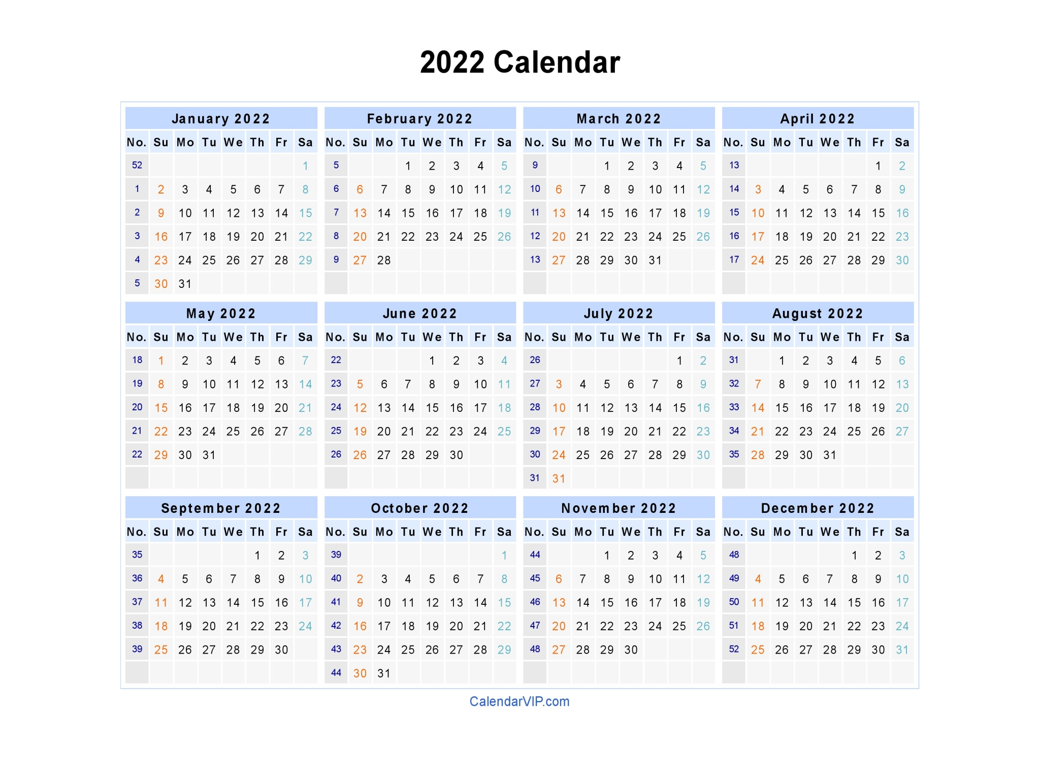 2022 Calendar - Blank Printable Calendar Template in PDF ...