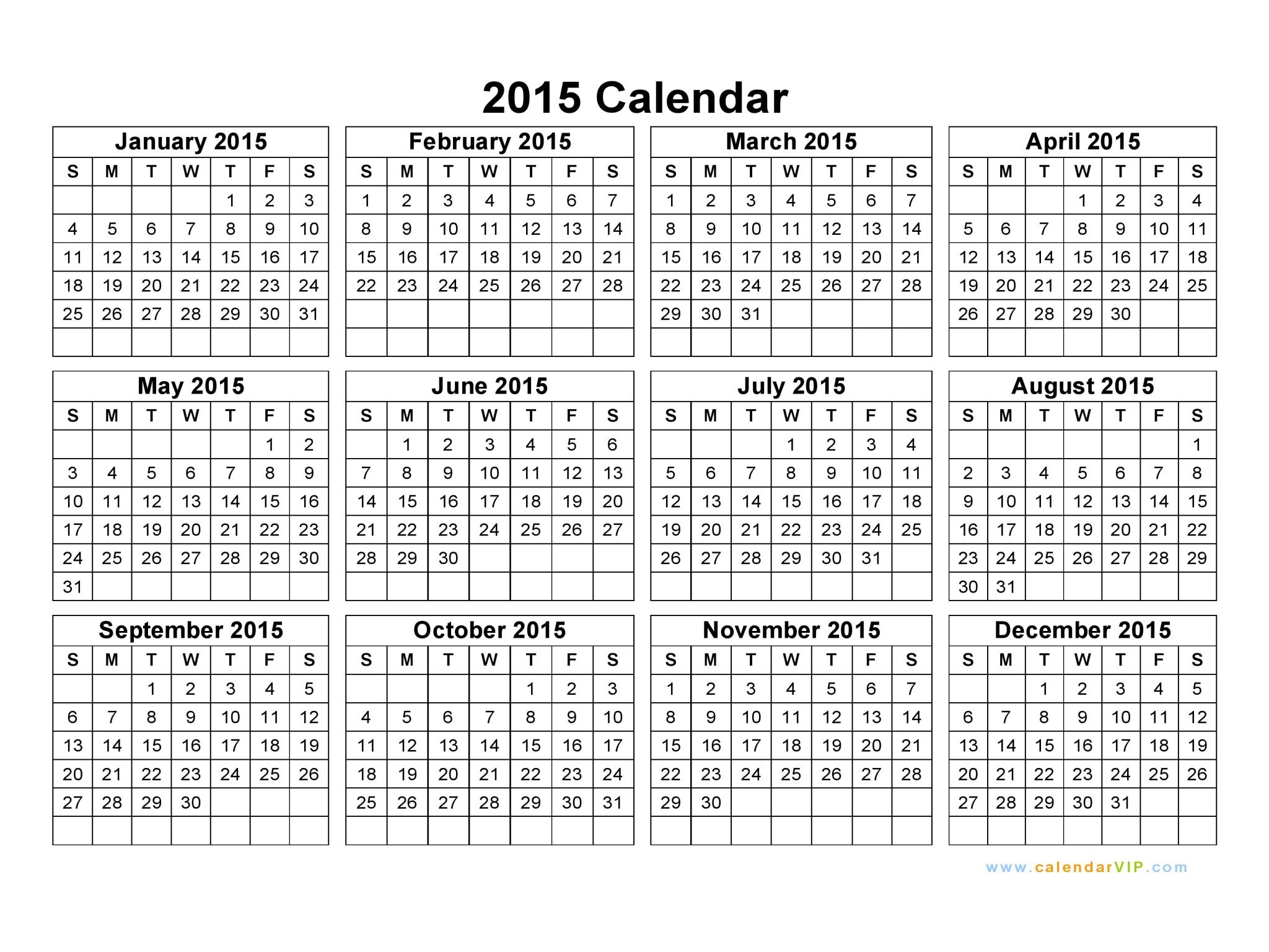 word doc calendar 2015