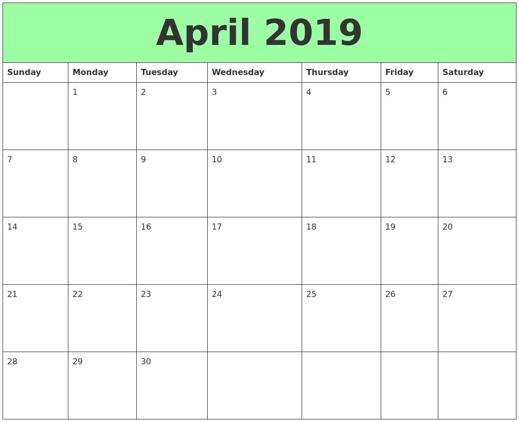 printable april 2019 calendar