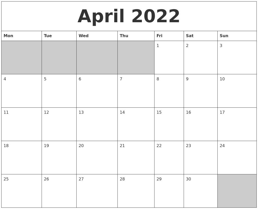 April 2022 Blank Printable Calendar