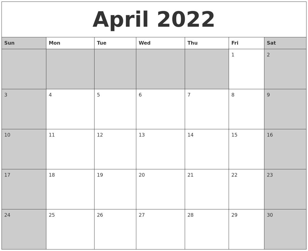 September 2022 Free Monthly Calendar