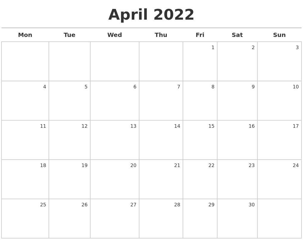 April 2022 Calendar Maker