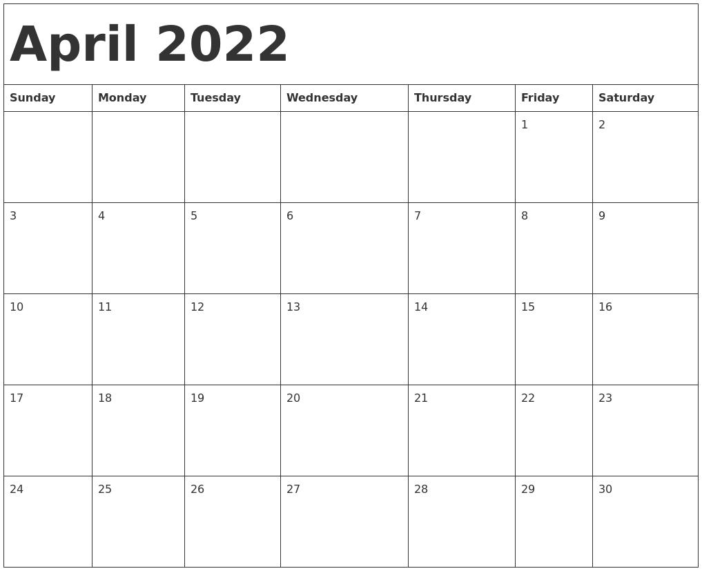 April 2022 Calendar Template