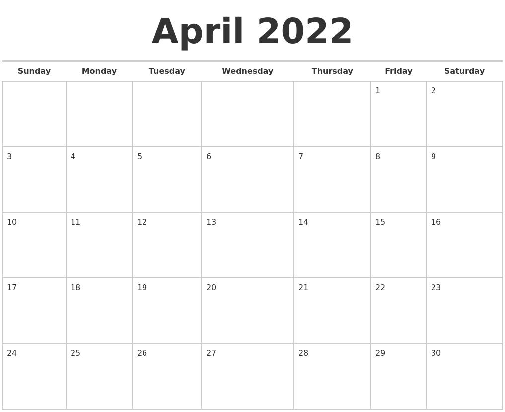 April 2022 Calendars Free