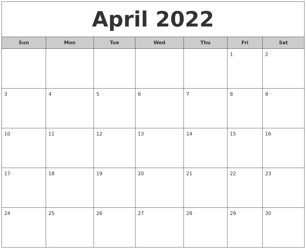 April 2022 Free Monthly Calendar