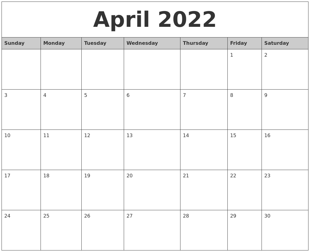April 2022 Monthly Calendar Printable