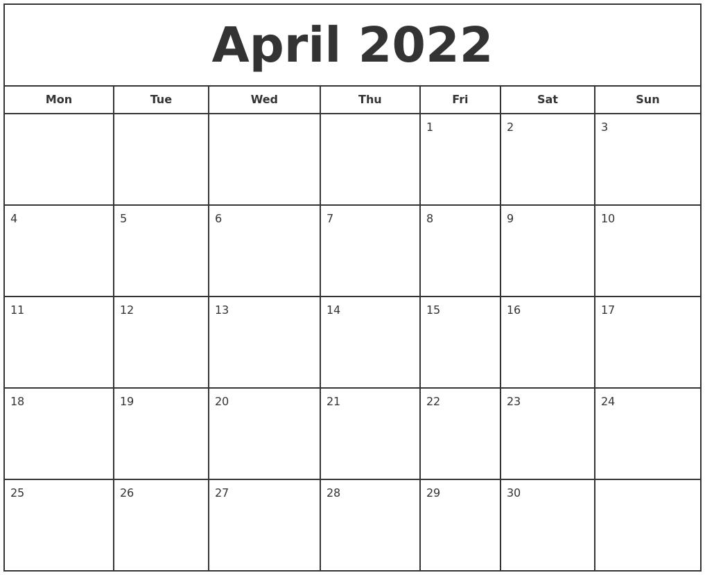 April 2022 Print Free Calendar