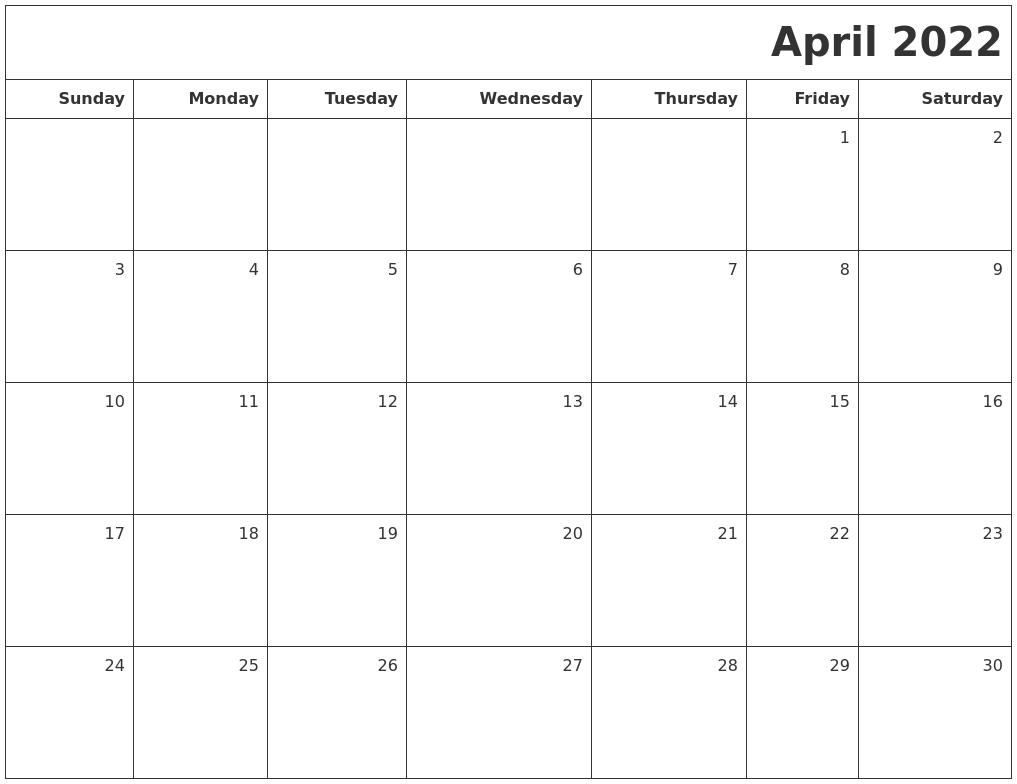 April 2022 Printable Blank Calendar