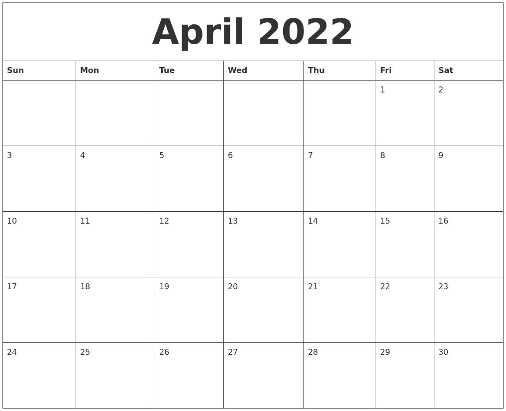 April 2022 Printable December Calendar