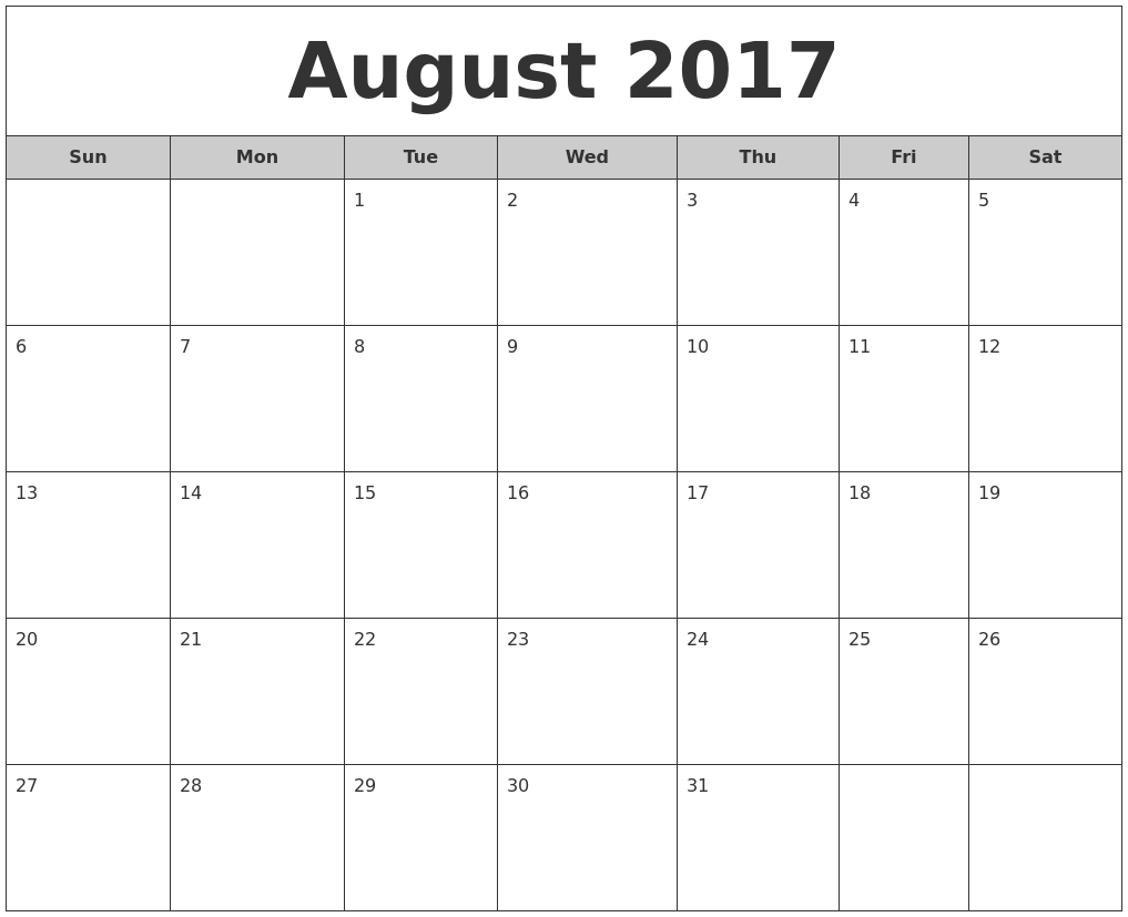 august monthly calendar