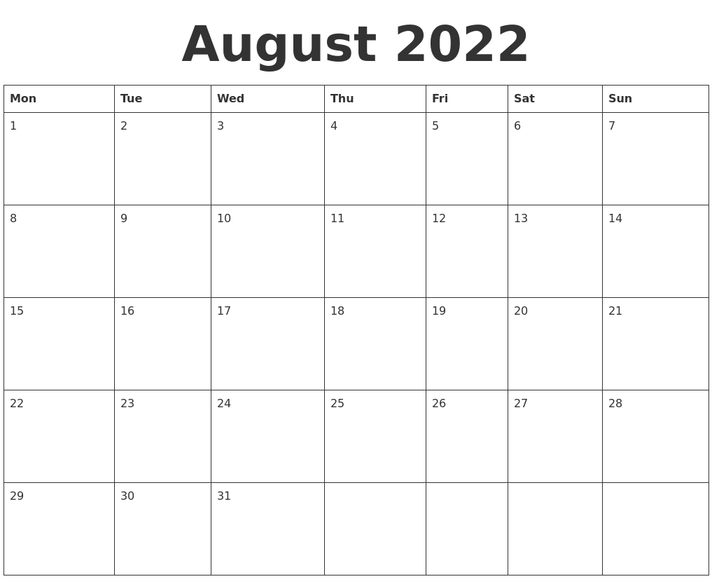 Download a free, printable calendar for 2021 to keep you organized in style. August 2022 Blank Calendar Template