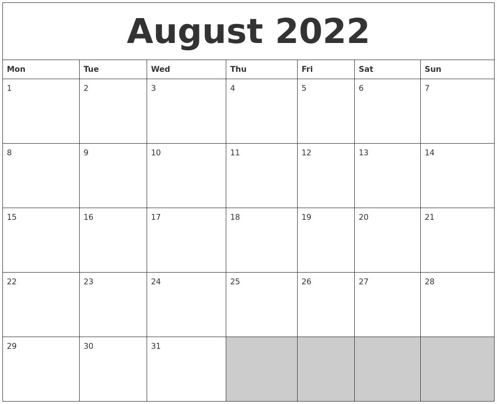 August 2022 Blank Printable Calendar