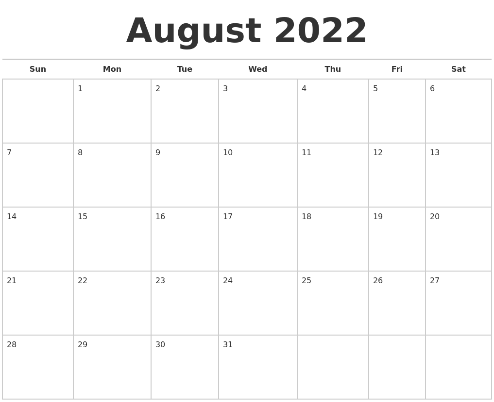 July 2022 Monthly Calendar Template