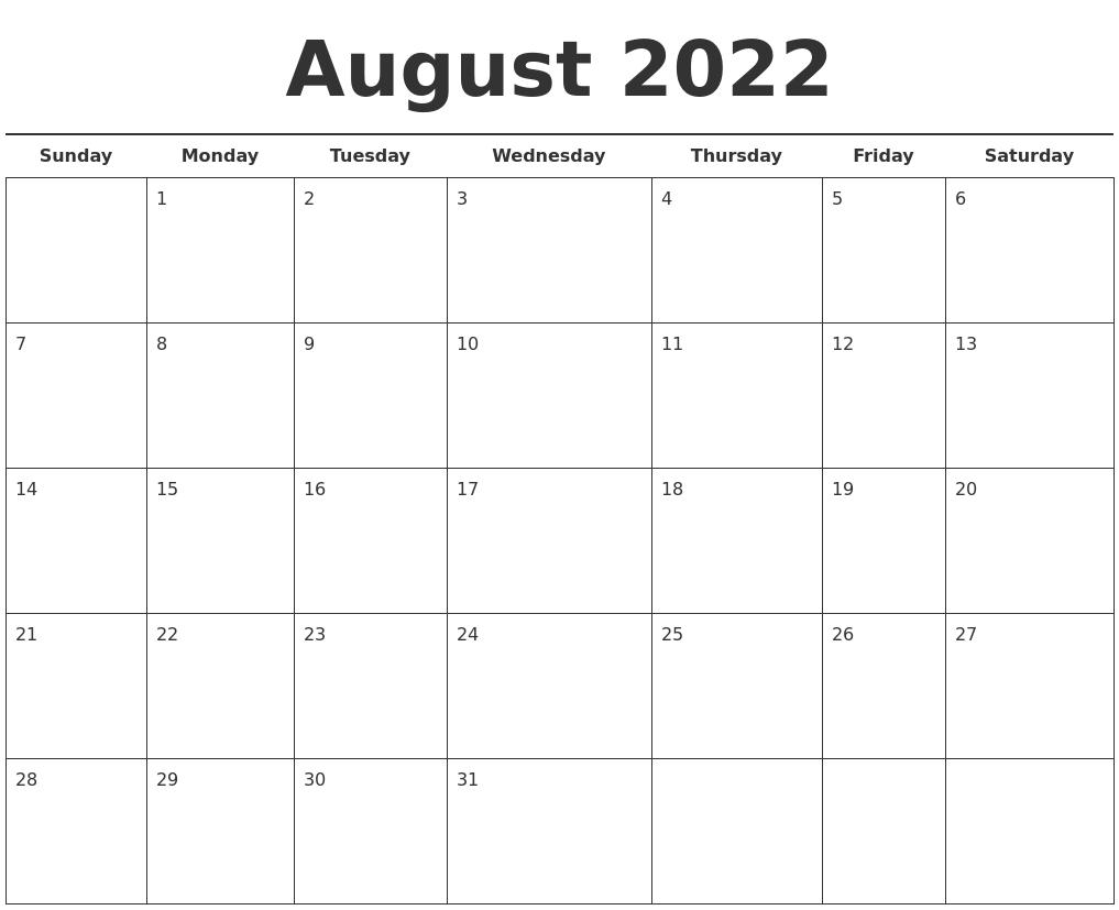 August 2022 Free Calendar Template
