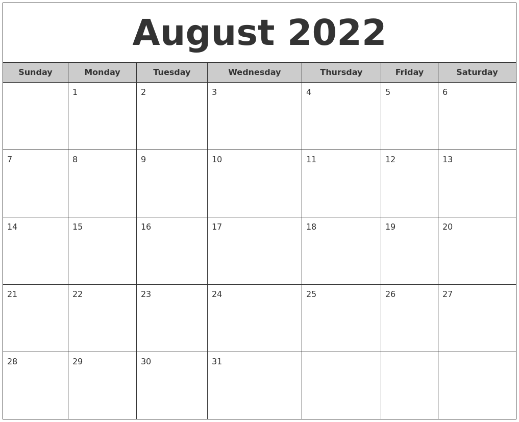 August 2022 Free Monthly Calendar