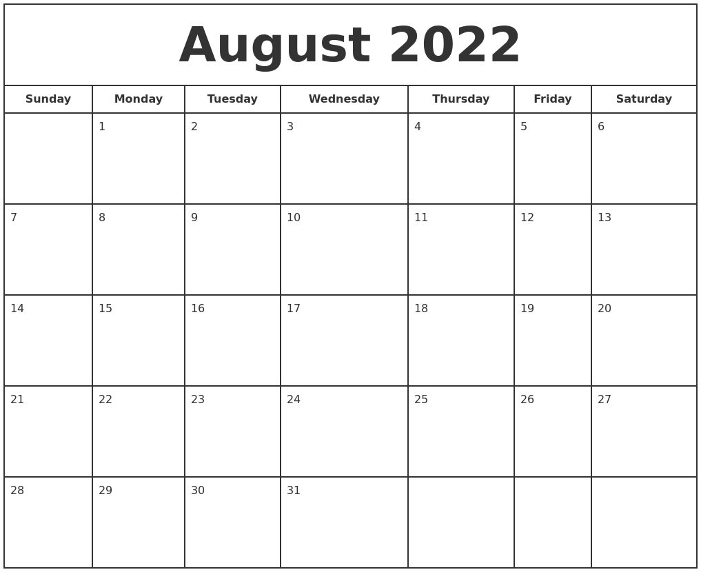 If you have any questions regarding these events, please contact us. August 2022 Print Free Calendar