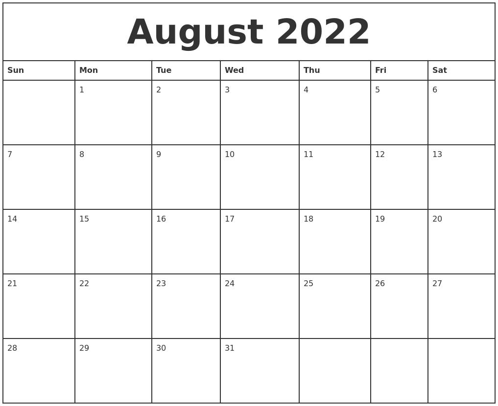 September 2022 Calendar Maker