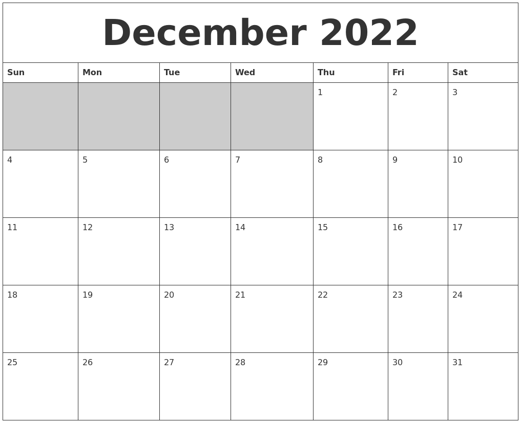 December 2022 Blank Printable Calendar