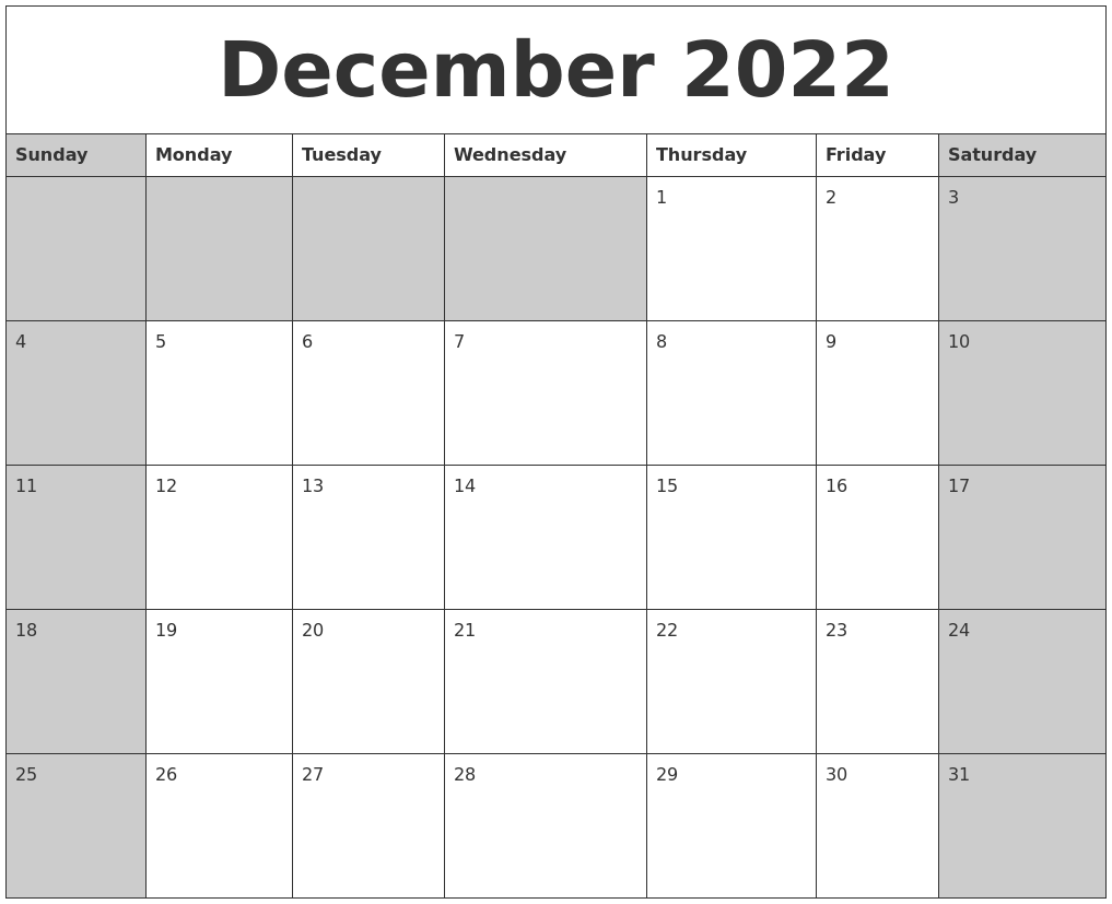 This printable december calendar 2022 can be print out as a landscape orientation 10.63x9.45 size, making it a great choice for a wall calendar that would look lovely anywhere in your home. December 2022 Calanders