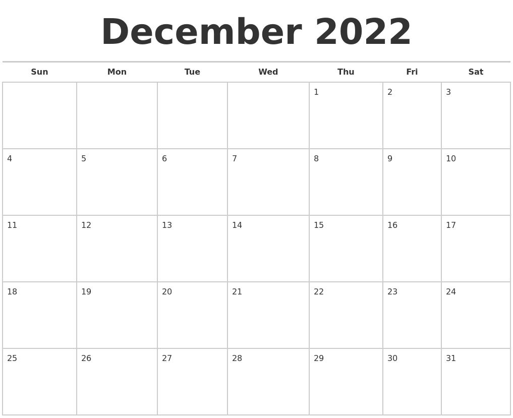December 2022 Calendars Free