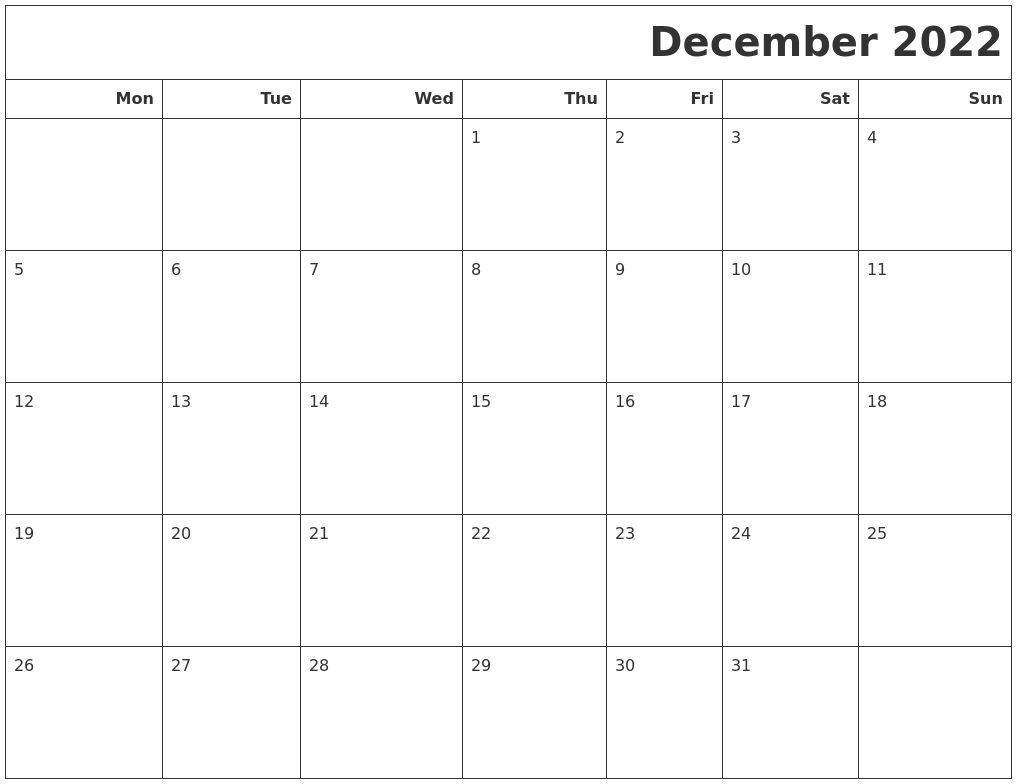 Easily print this calendar with your favorite designs and formats. December 2022 Calendars To Print