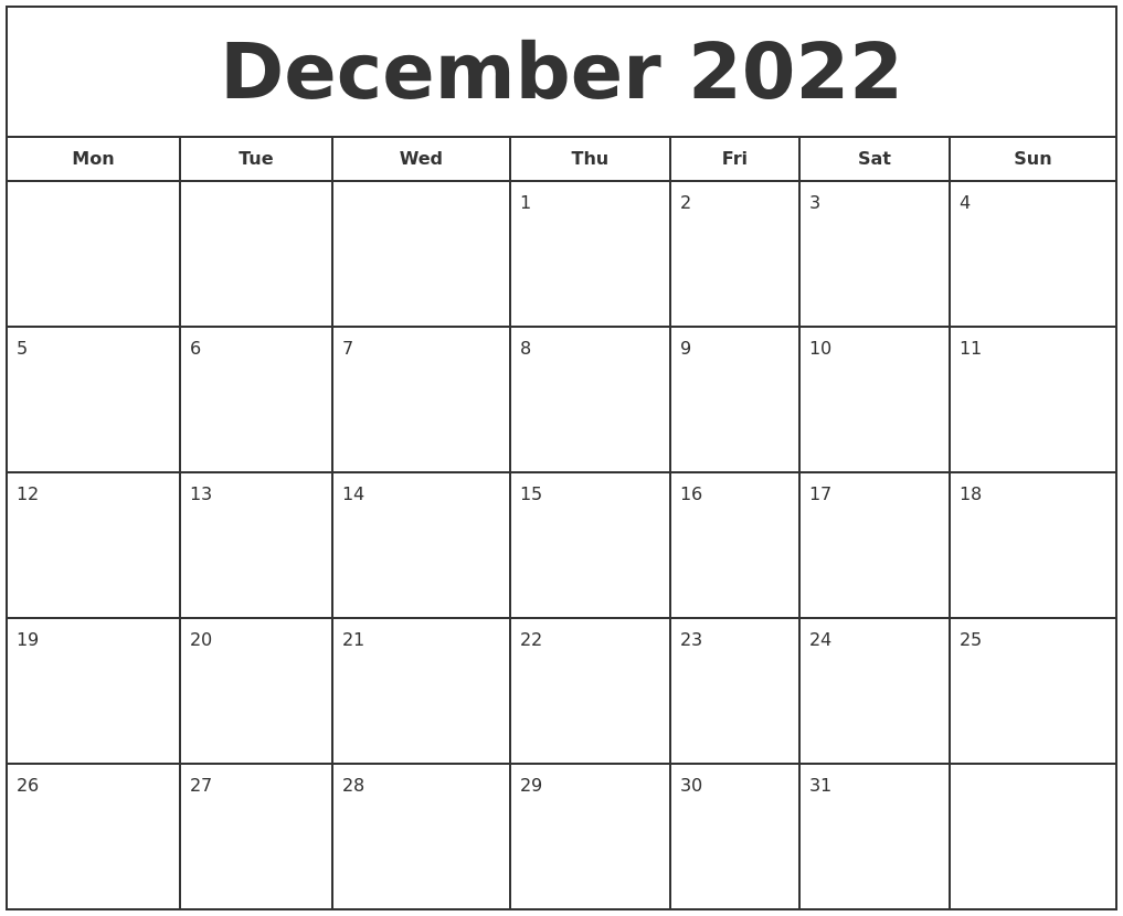 View all holidays printable blank calendar for the current or upcoming holiday! December 2022 Print Free Calendar