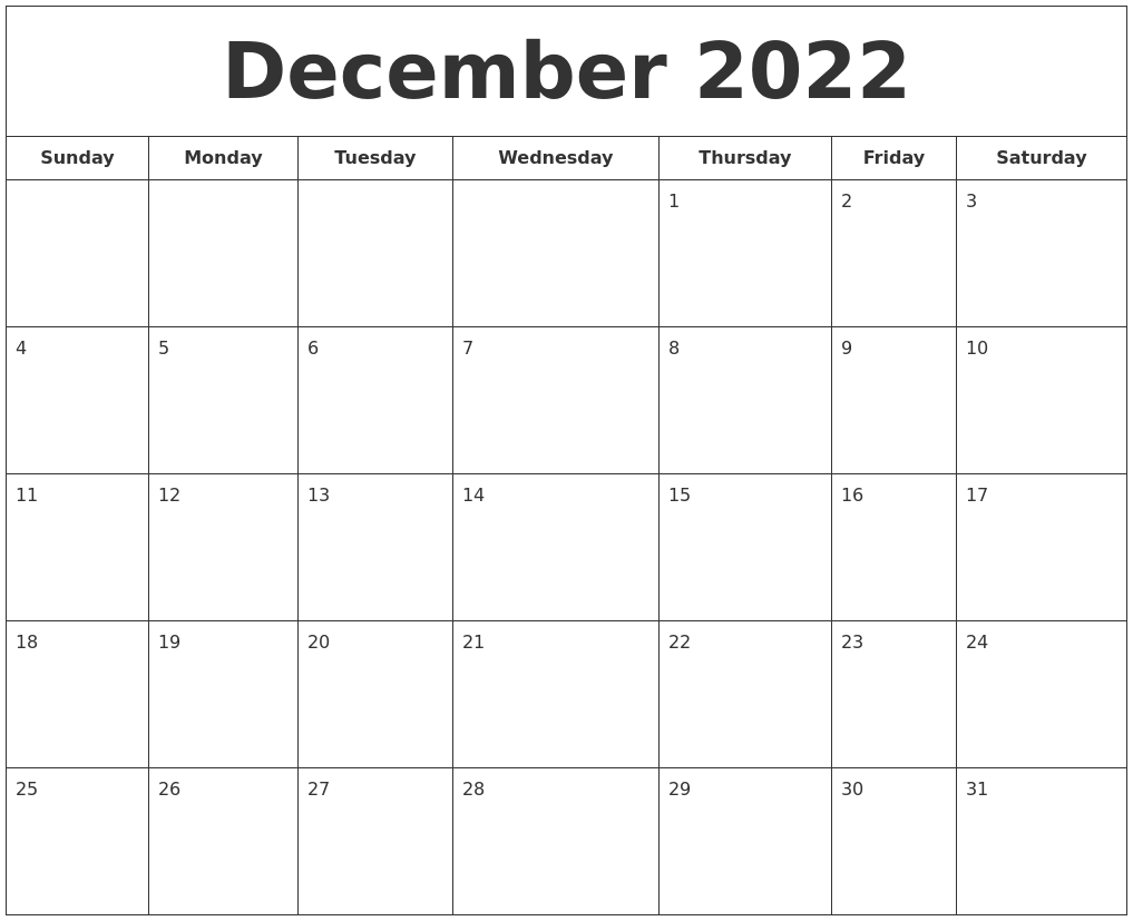Given below is the monthly planner of this month. December 2022 Printable Calendar