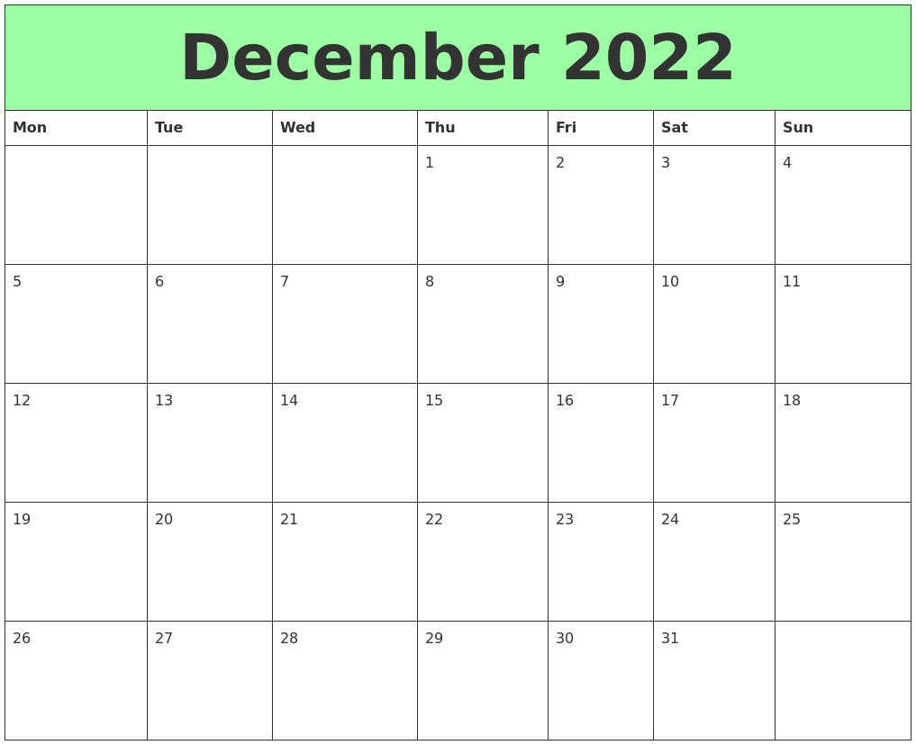 Print the calendar and mark the important dates, events, holidays, etc. December 2022 Printable Calendars