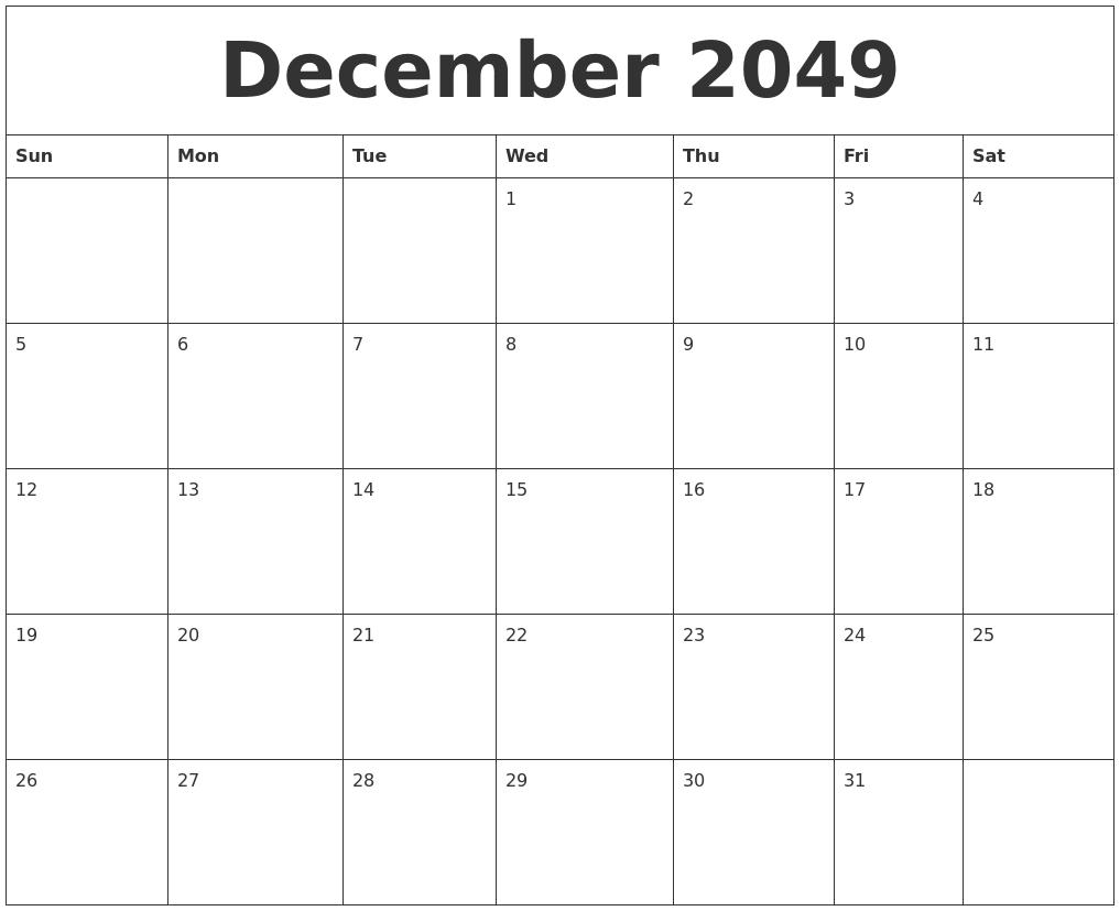 December 2049 Calendar For Printing