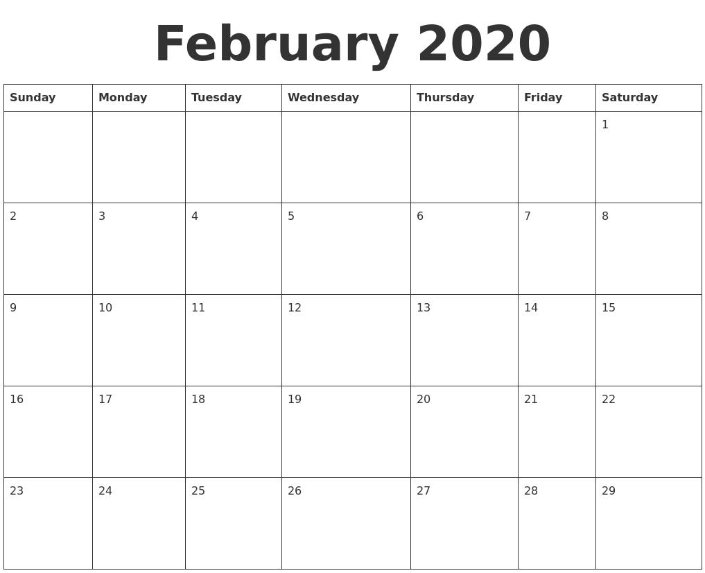 Image Result For Printable February Calendar
