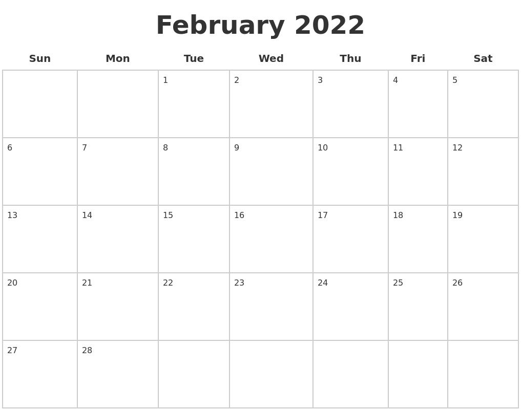 May 2022 Printable Calender