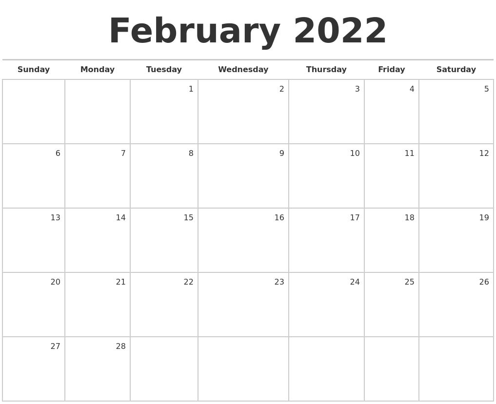 February 2022 Blank Monthly Calendar