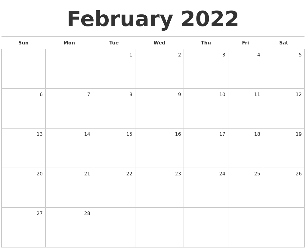 Time rules our lives, with appointments and deadlines guiding us through our days. February 2022 Blank Monthly Calendar