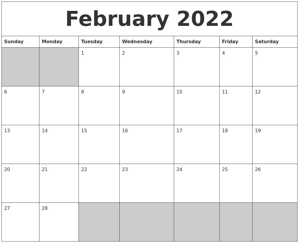February 2022 Blank Printable Calendar