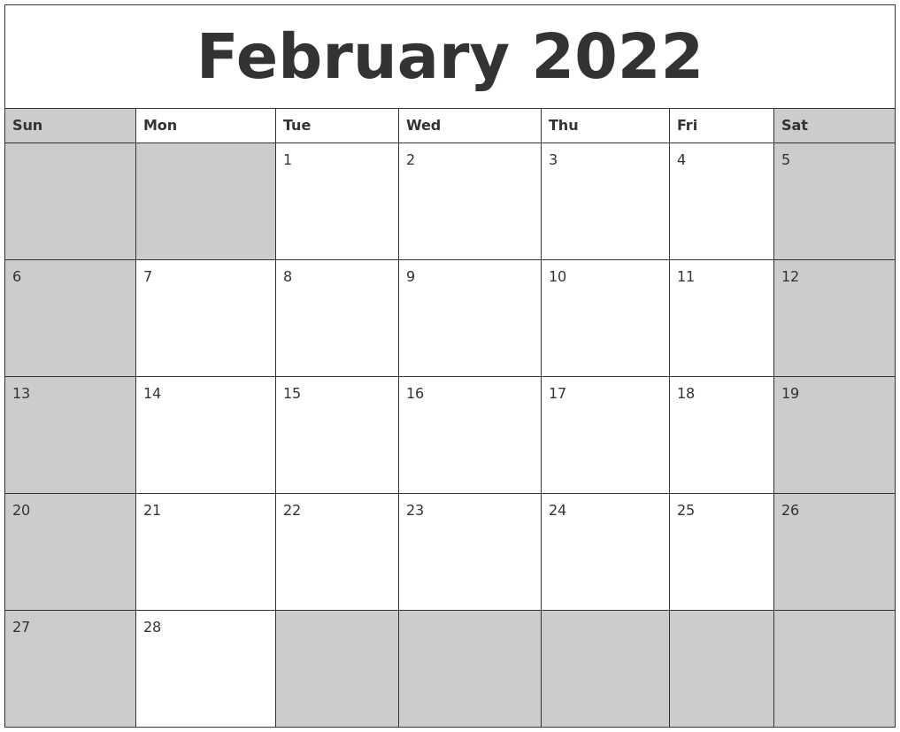 February 2022 Calanders