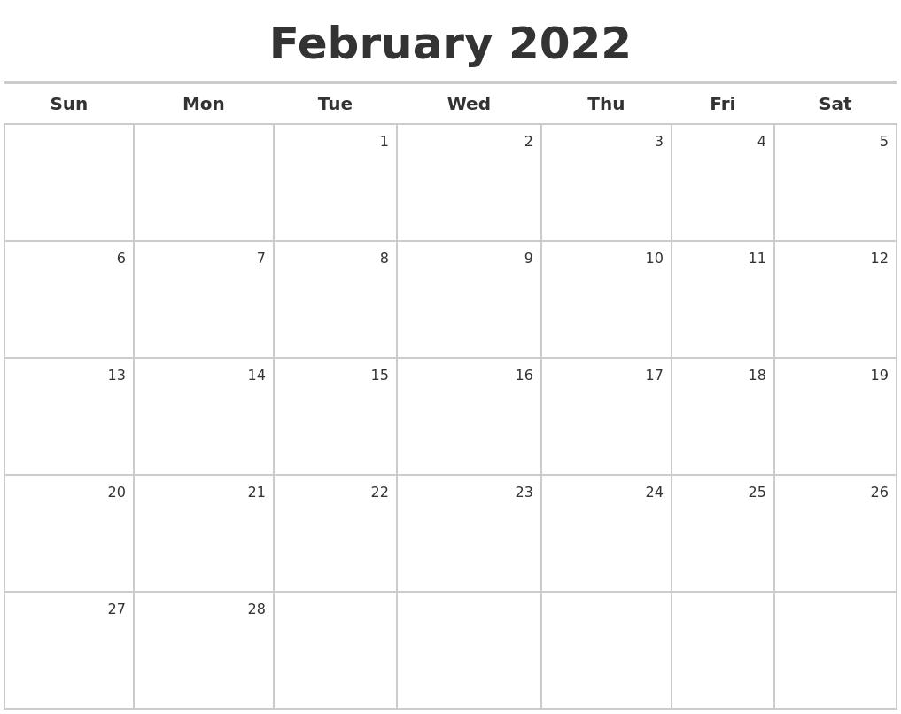 February 2022 Calendar Maker