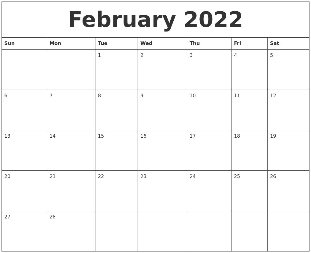 February 2022 Calendar Monthly