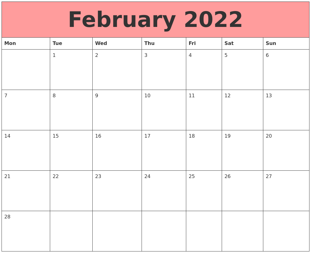 February 2022 Calendars That Work