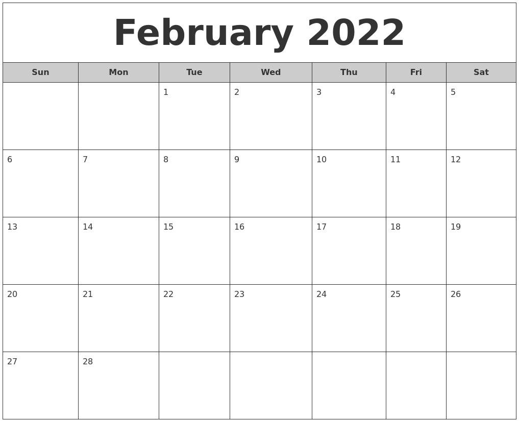 February 2022 Free Monthly Calendar