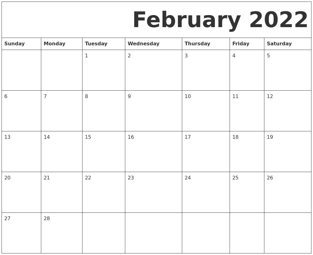 February 2022 Free Printable Calendar