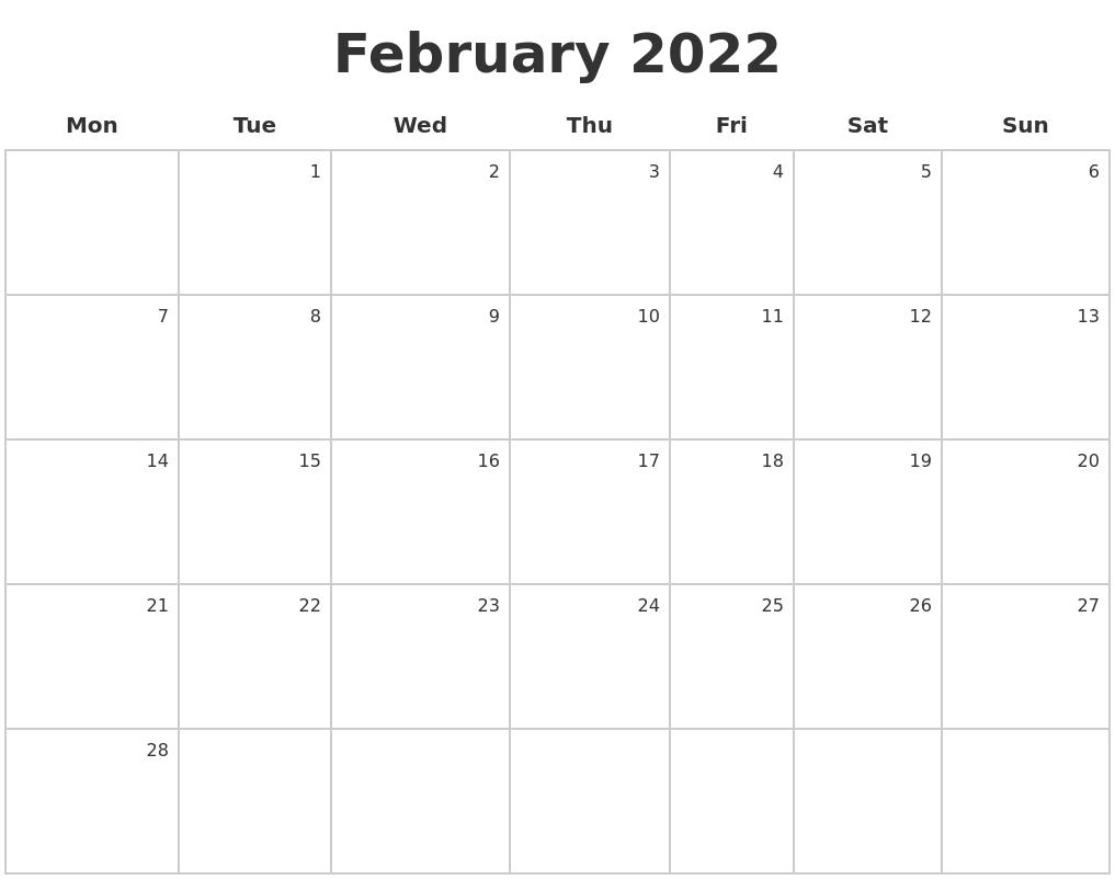 February 2022 Make A Calendar