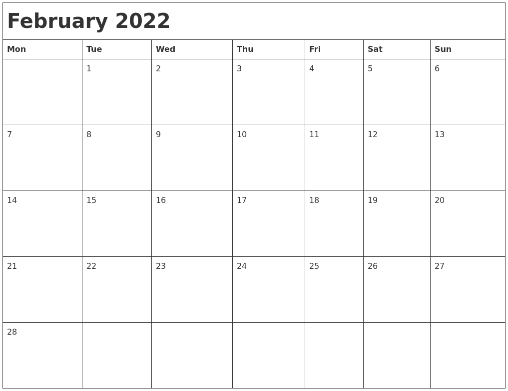 February 2022 Month Calendar