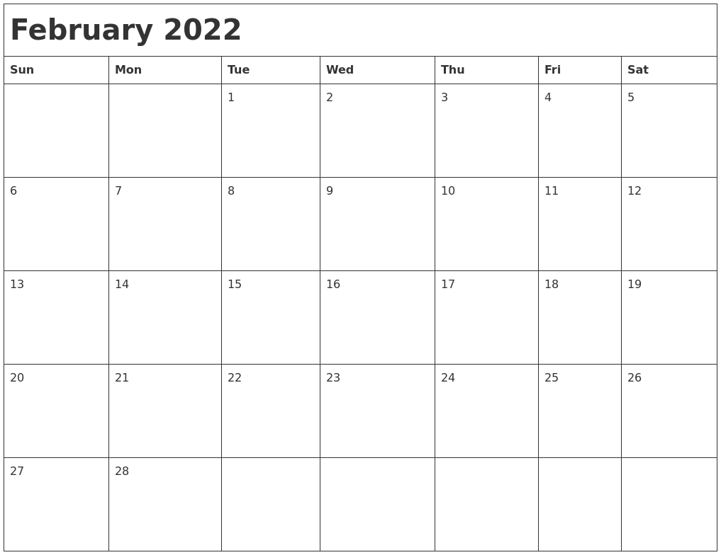 Free printable february calendar 2022 with holidays. February 2022 Month Calendar