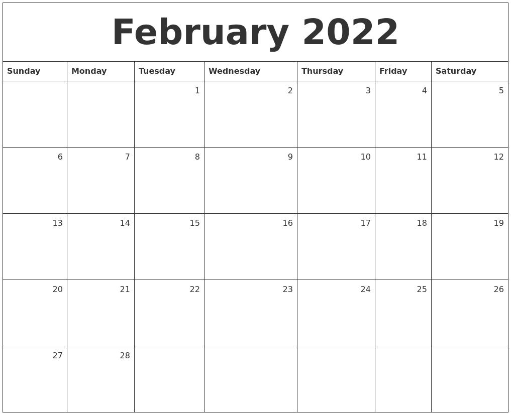 February 2022 Monthly Calendar