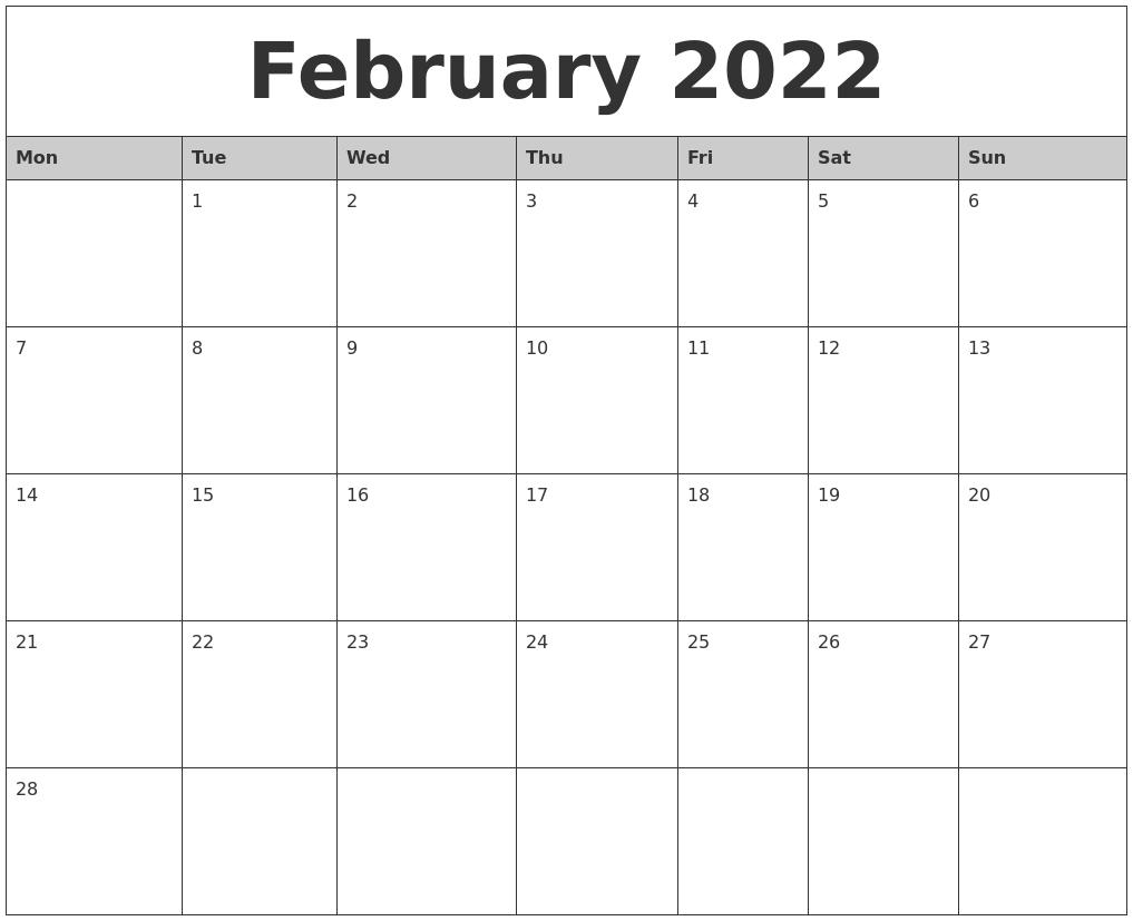 February 2022 Monthly Calendar Printable