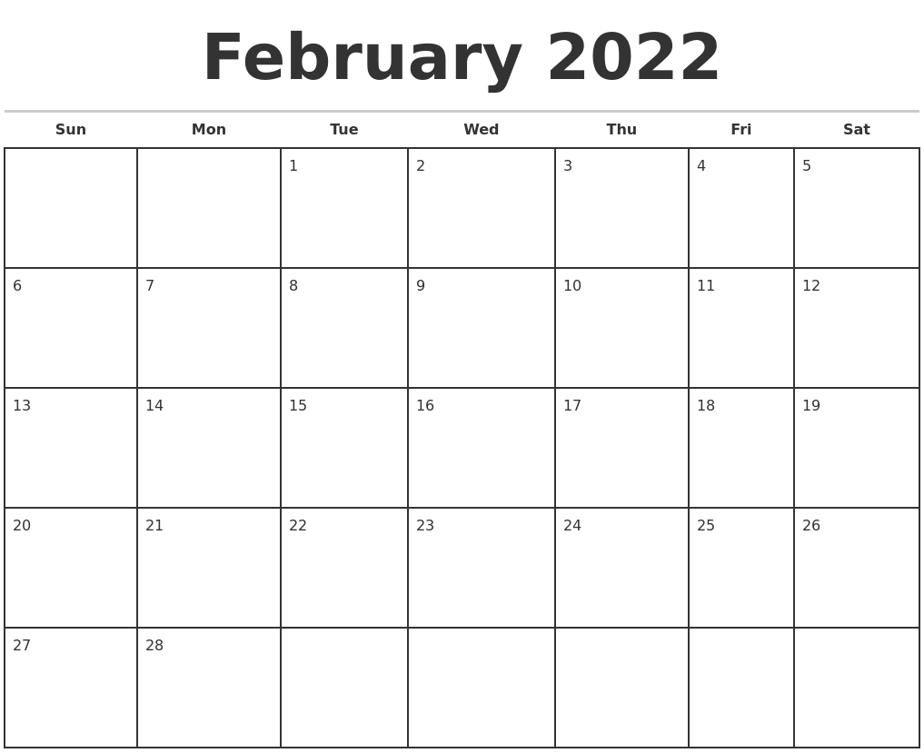 January 2022 Print A Calendar