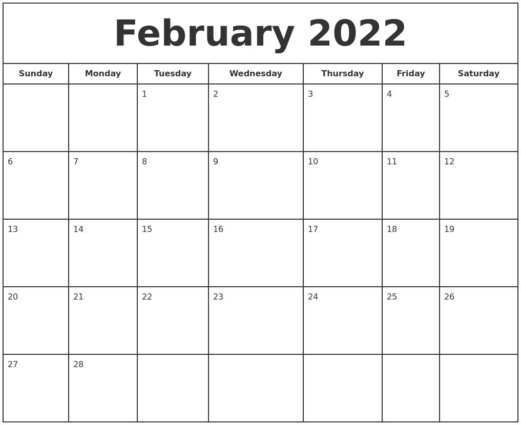February 2022 Print Free Calendar